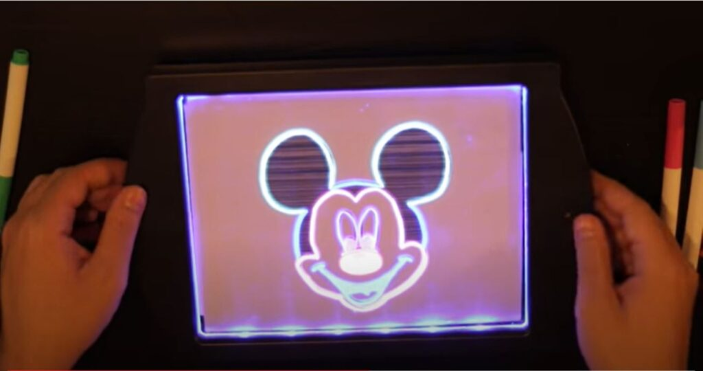 Tracing Mickey Mouse on Glow Art